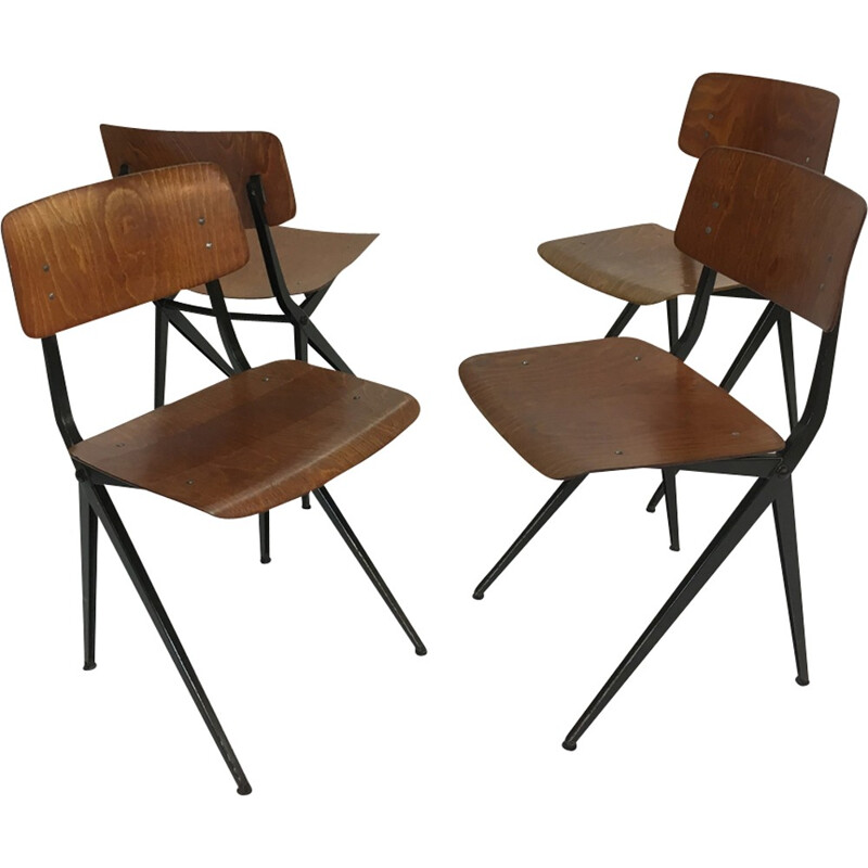 Set of 4 vintage Industrial Steel & Wood Chairs from Marko - 1960s