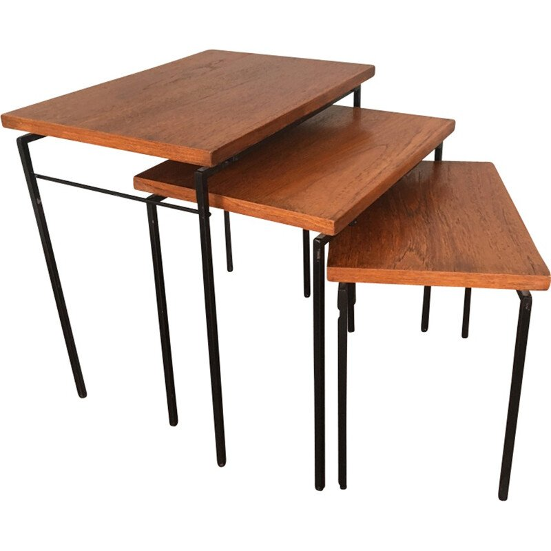Vintage Nesting Tables with Teak Tops - 1960s
