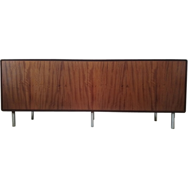 Vintage wooden and leatherette sideboard - 1960s