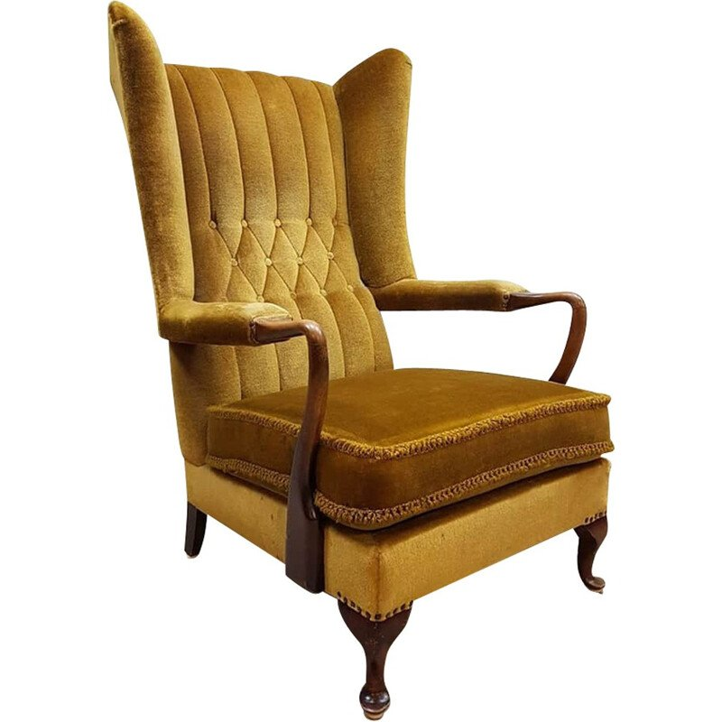 Vintage French wingback lounge chair - 1950s