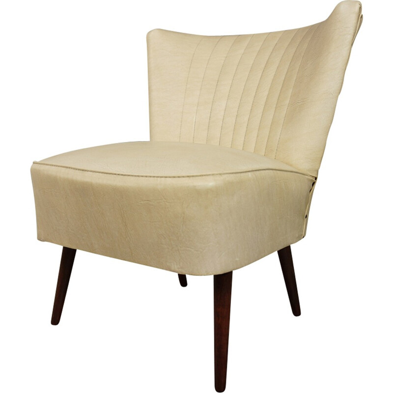 Vintage cocktail armchair in beige leather - 1950s