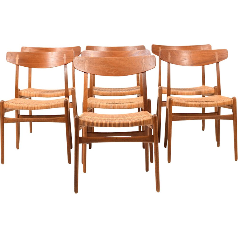 "Vintage set of 7 ""CH23"" chairs by Hans Wegner for Carl Hansen & Son - 1950s"