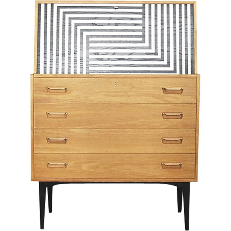 Danish Secretaire with Pattern by Arne Wahl Iversen for Vinde Møbelfabrik - 1960s