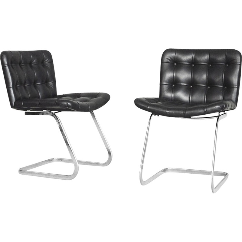 Set of 2 Swiss Leather RH-304 Chairs by Robert Haussmann for De Sede - 1960s