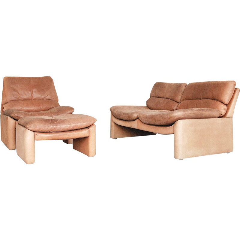 Set of Vintage Leather Living Room by Walter Knoll - 1970s