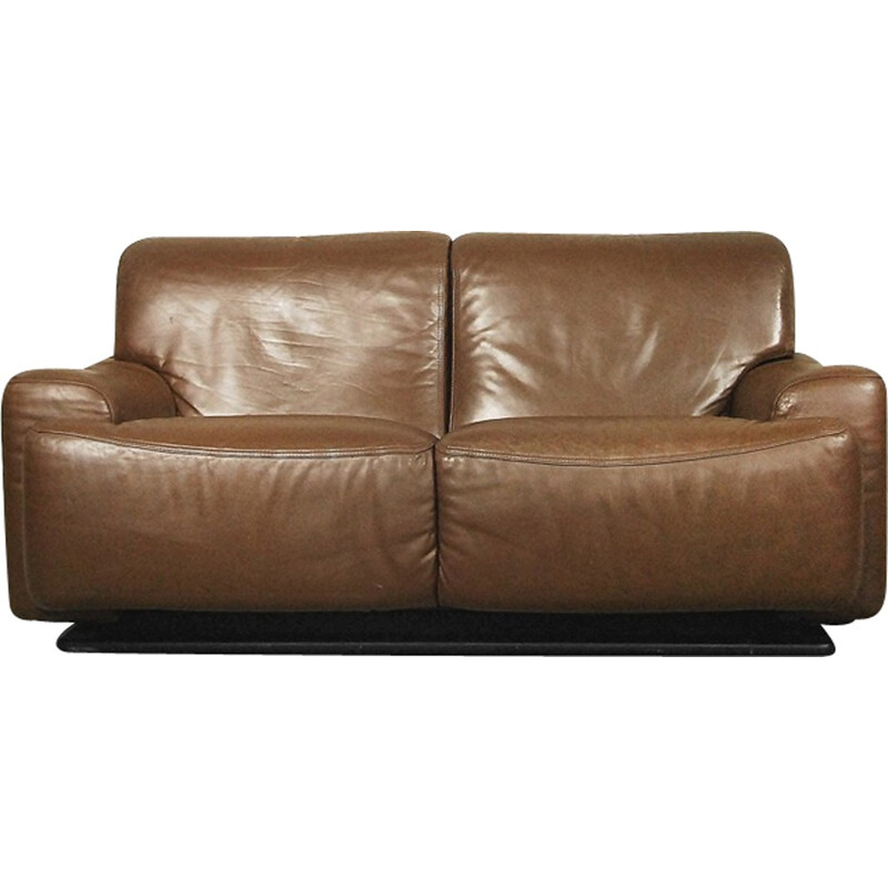 Italian Leather vintage Sofa by Brunati - 1970s