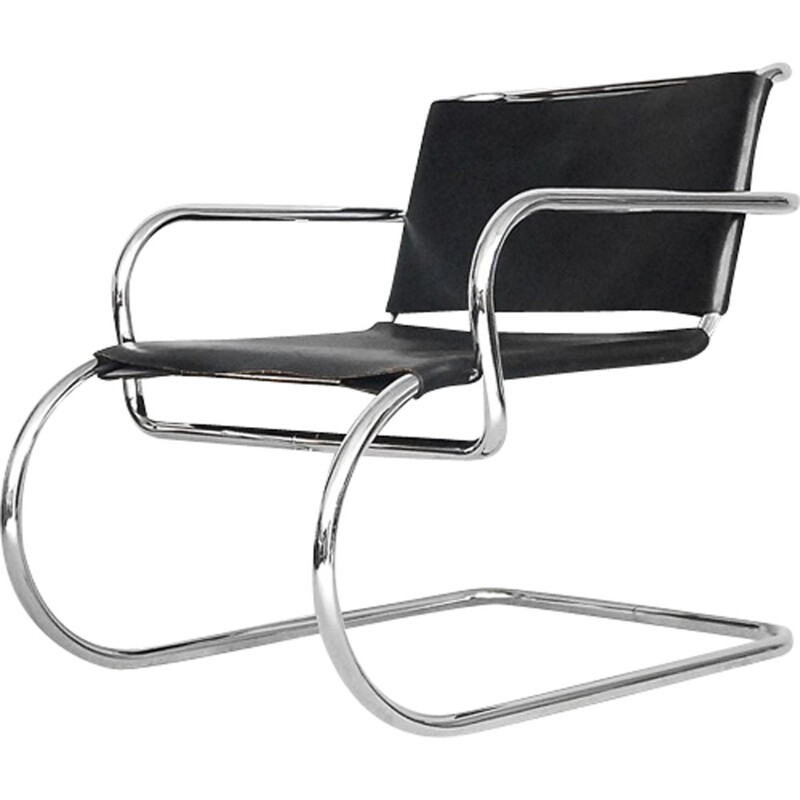 "Vintage ""Bauhaus"" German leather chair by Franco Albini for Tecta - 1950s"