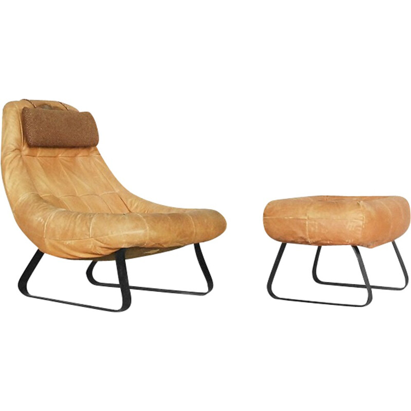 Vintage Brazilian lounge chair and ottoman by Percival Lafer for Lafer MP - 1970s