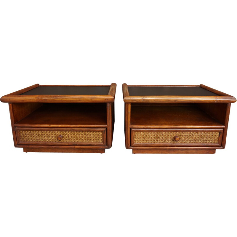 Set of 2 french bedside tables in wood, rattan and black leatherette - 1960s