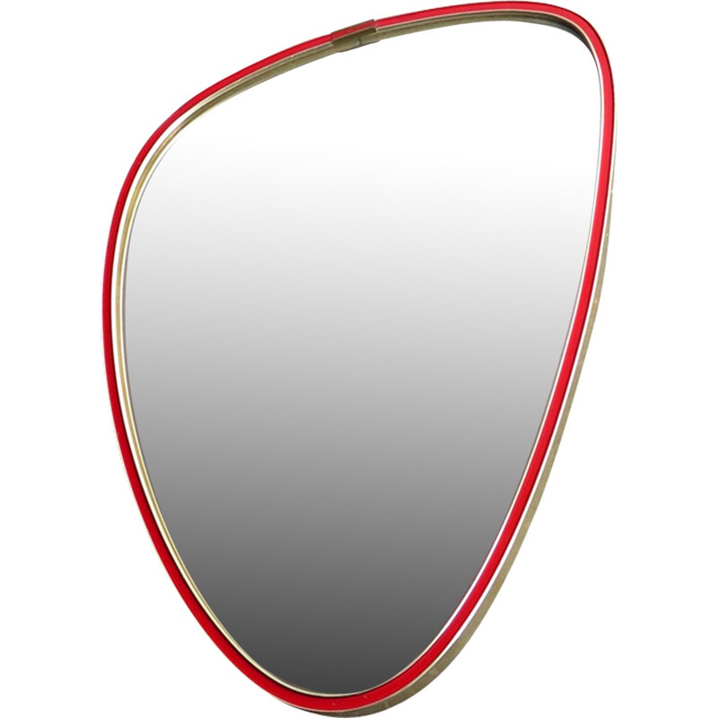 Vintage red and golden frame mirror - 1960s