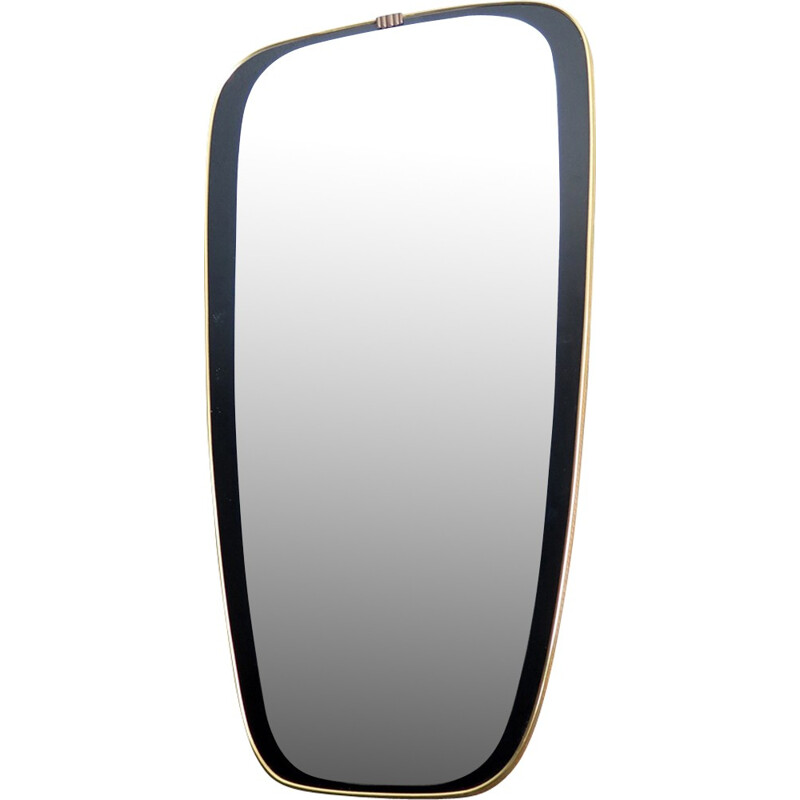 Vintage golden edge and black painted frame mirror - 1960s