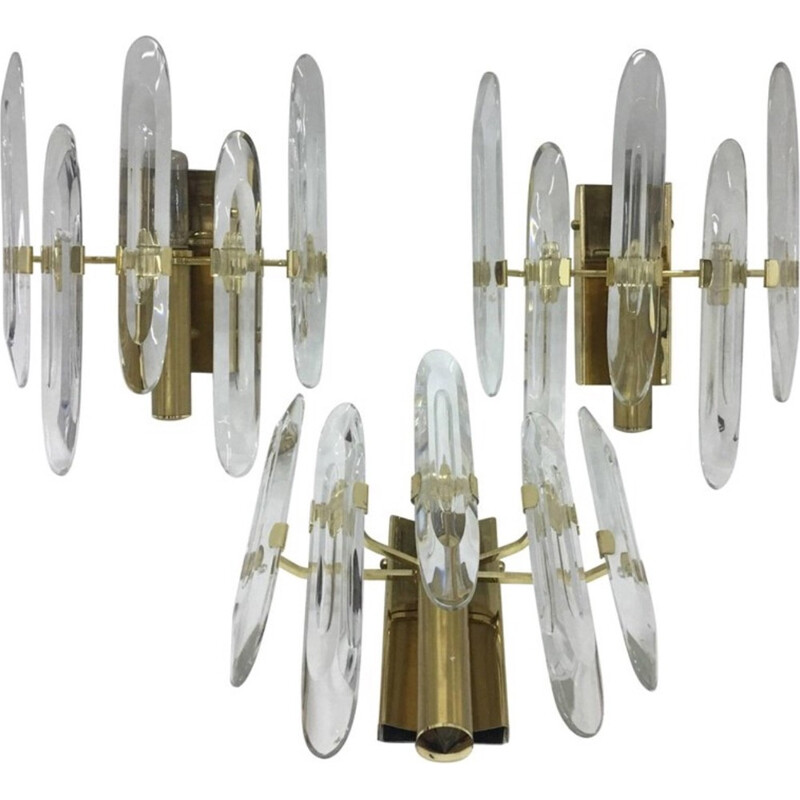Vintage set of 3 large brass wall sconces by Gaetano Sciolari, Italy - 1960s