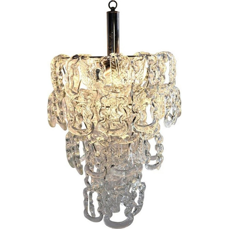 Chandelier in Glass Chain by Angelo Mangiarotti for Vistosi - 1960s
