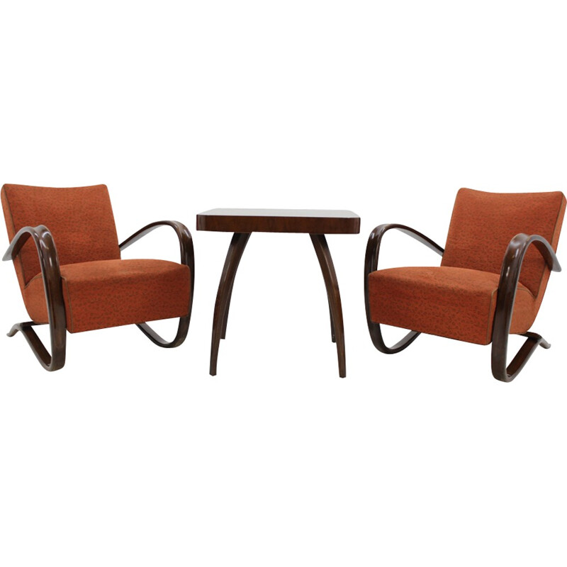 """Set of 2 Armchairs """"H-269"""" and Coffee table by Jindrich Halabala - 1960s"""