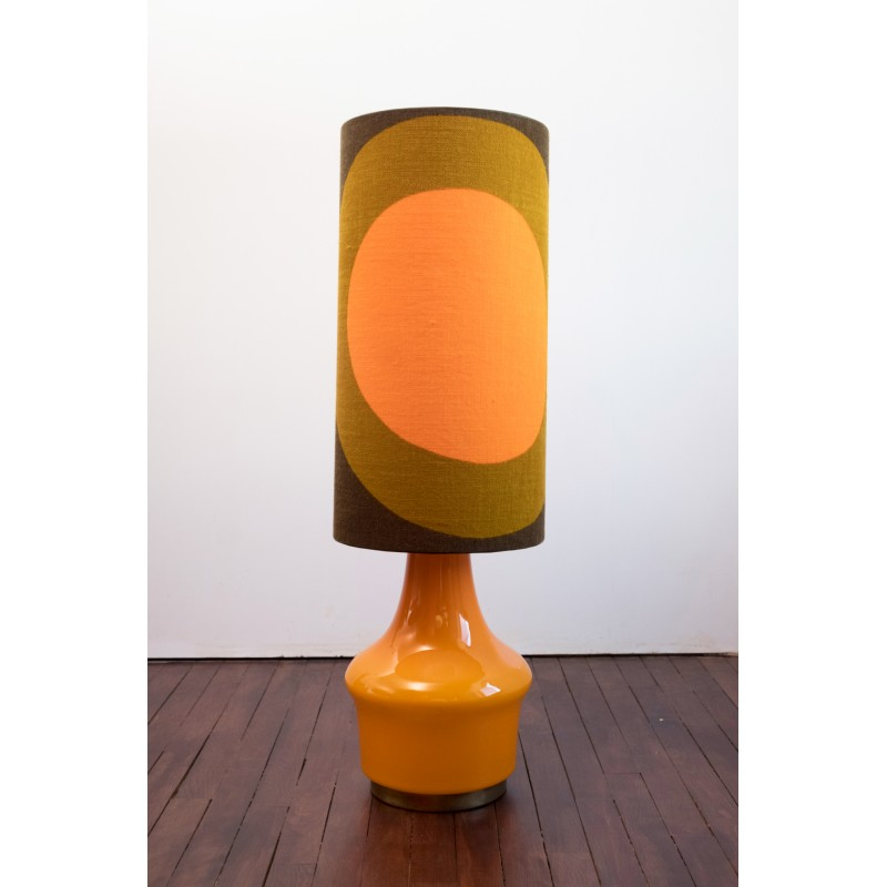 Glass Orange Vintage Floor Lamp With Multicolour Lamp