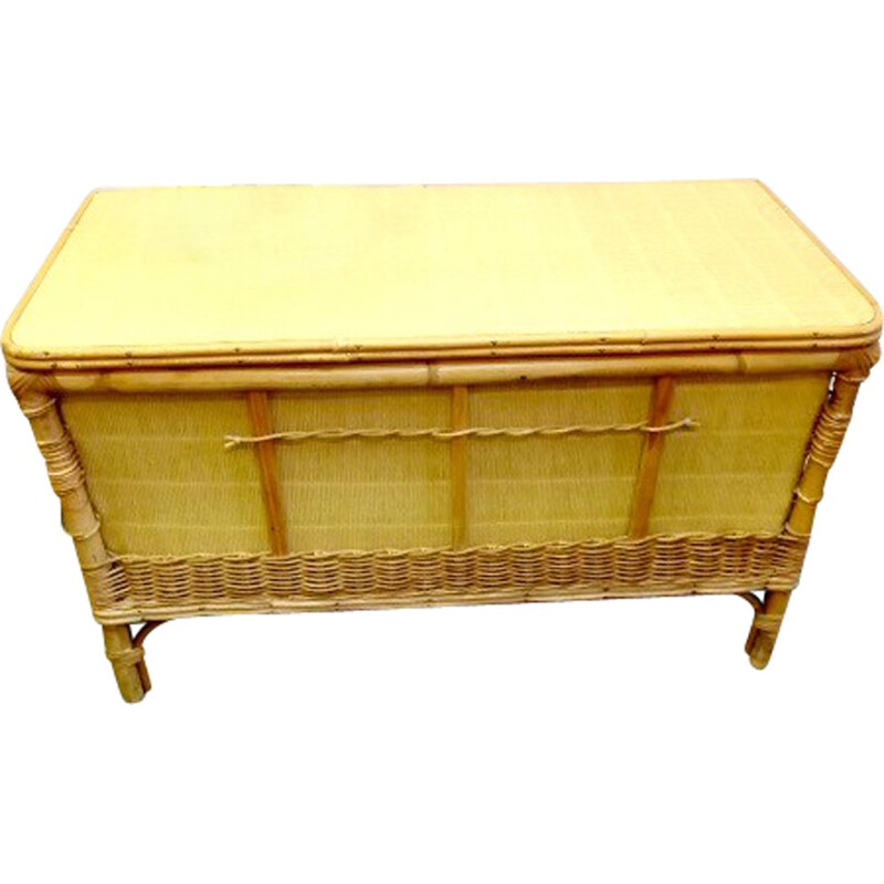 Vintage Rattan toy chest bench - 1950s