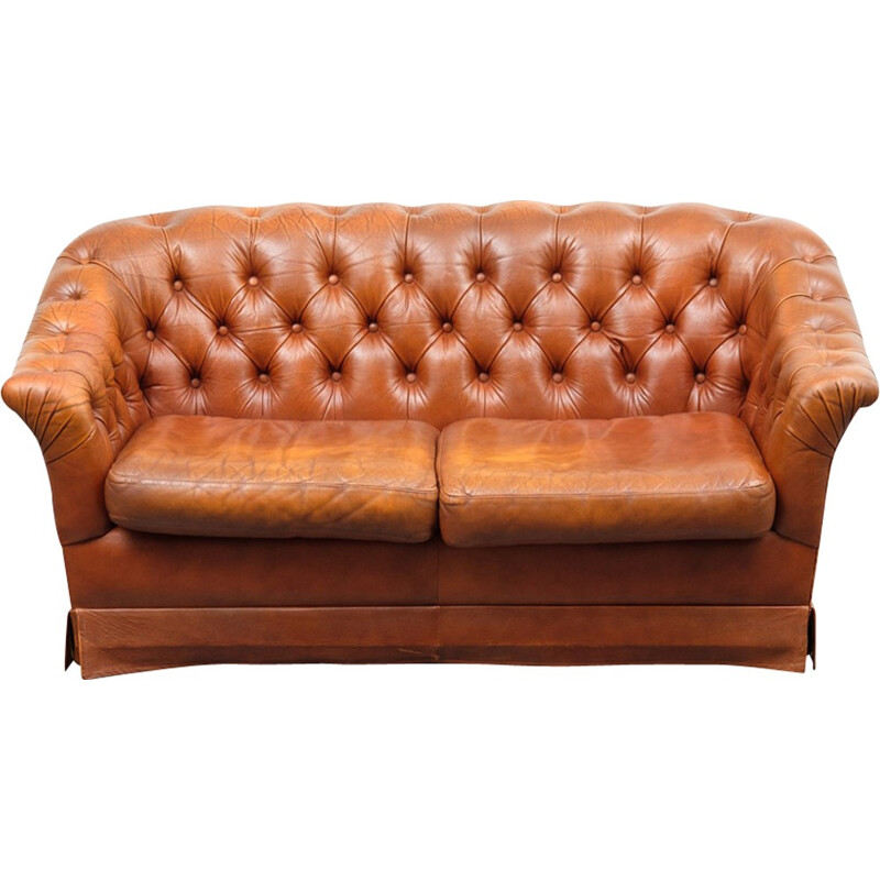 Vintage 2 seater sofa in leather cover cognac - 1950s