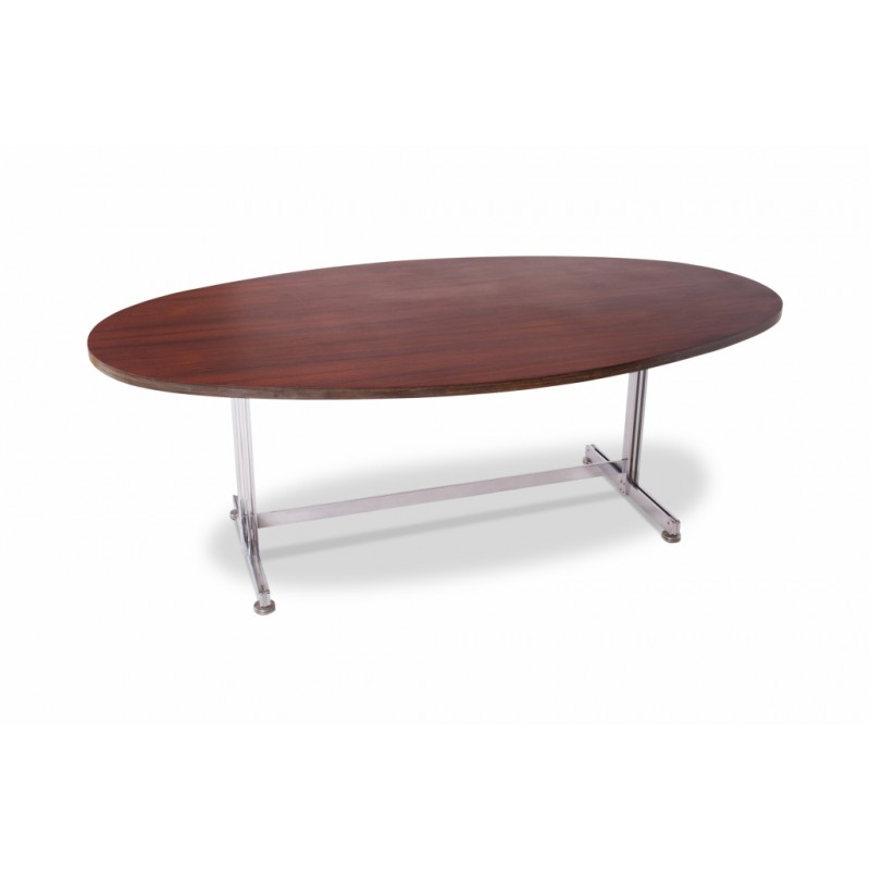 vintage oval dining conference table by jules wabbes for mobilier universel 1960s design market - Mobilier Vintage