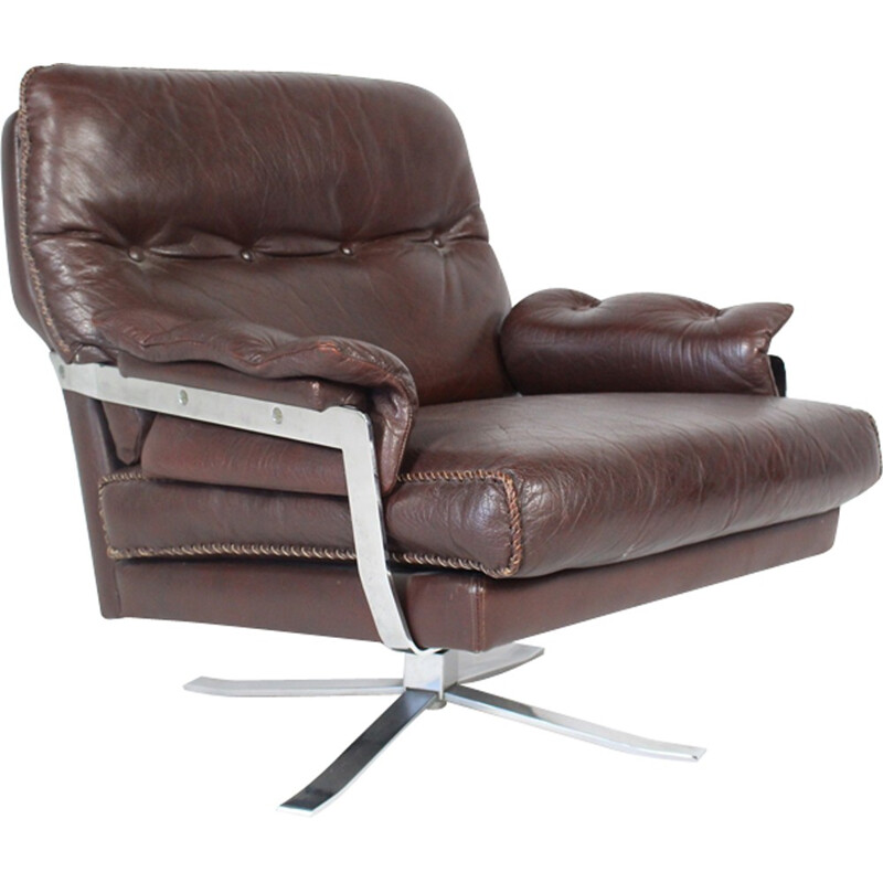 Vintage Red-Brown Leather & Chrome Lounge Chair by Arne Norell for Vatne - 1960s