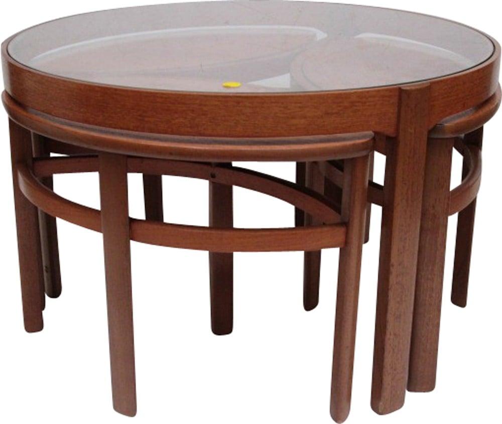 Vintage round teak nesting coffee table - 1960s - Design ...