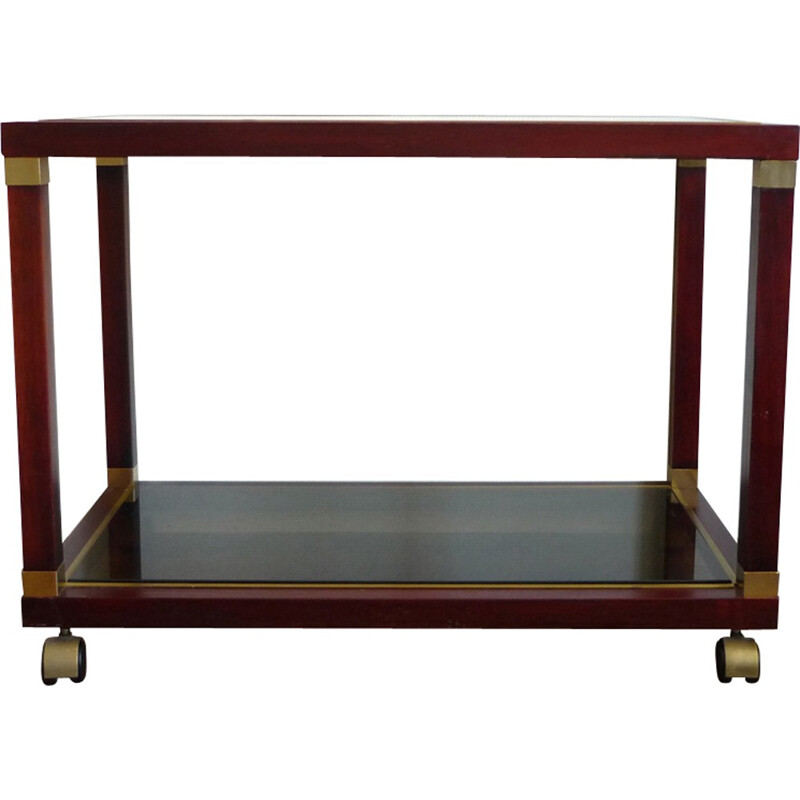 Maison JANSEN, console, neoclassical style rolling table in mahogany and brass. Circa 1970