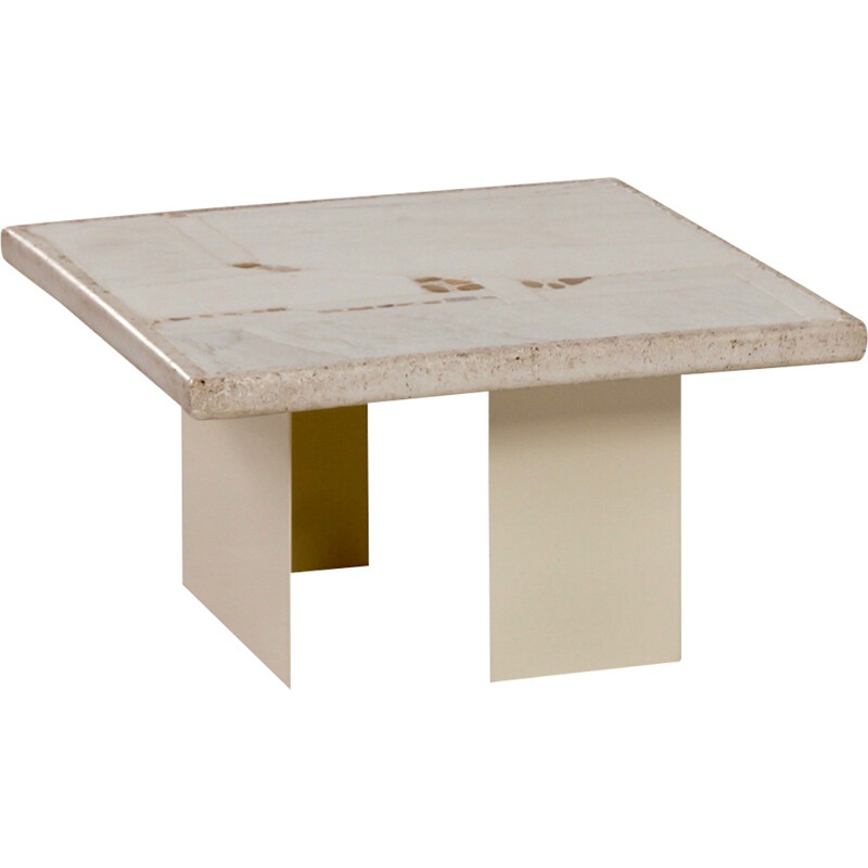 White Vintage Marble Coffee Table by Paul Kingma - 1980s