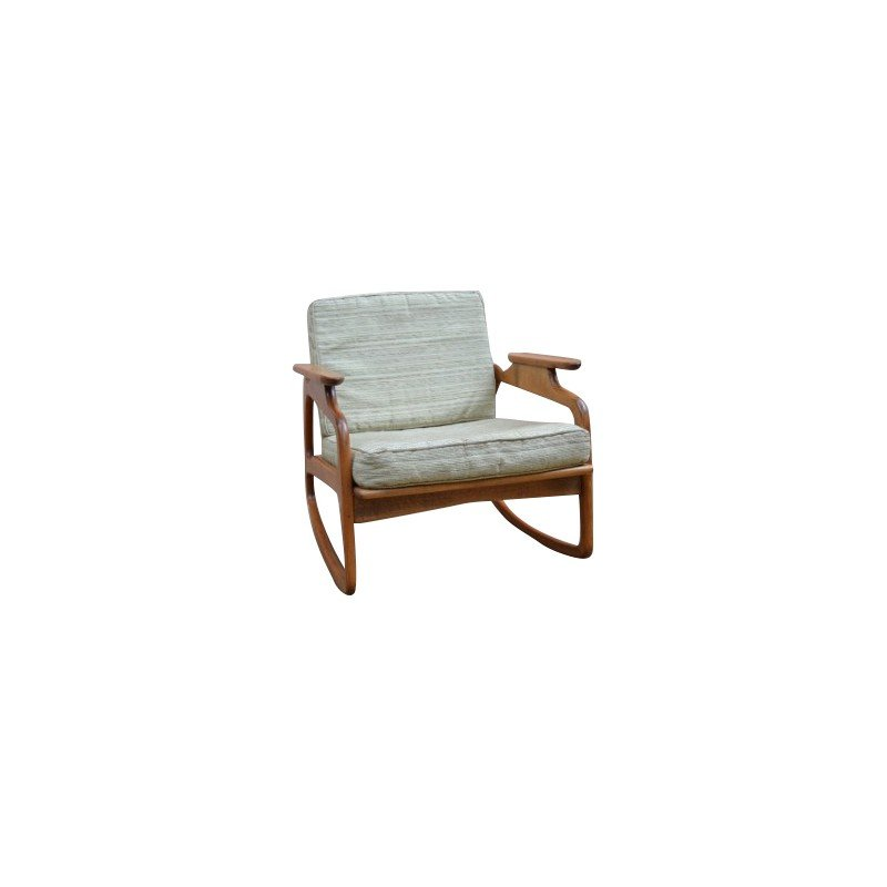 Rocking Chair In Beechwood And Fabric, Adrian PEARSALL   1960s