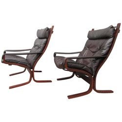 Pair of lounge chairs in  leather and wood, Ingmar RELLING - 1960s