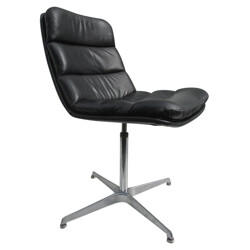 Swivel chair in black leather and chrome, Geoffrey HARCOURT - 1960s