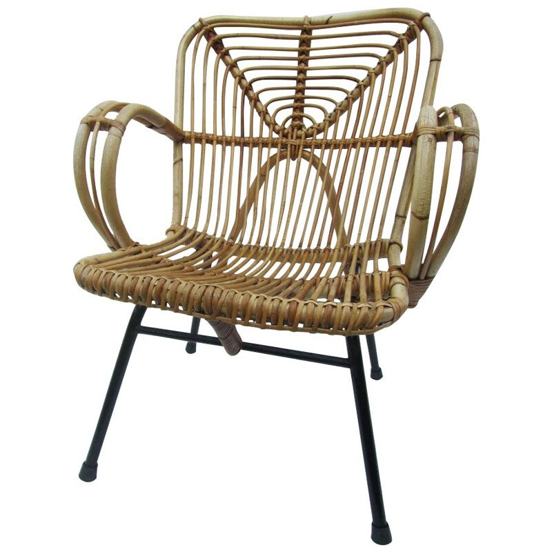 Lounge chair in rattan, Dirk van SLIEDREGT - 1960s