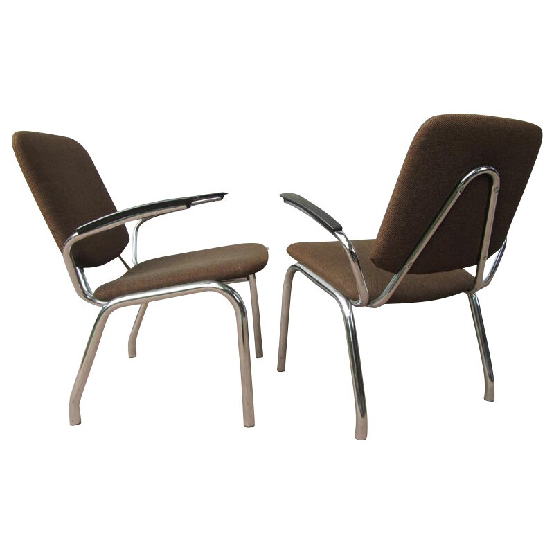 Pair of Gispen armchairs in steel and brown fabric, Martin DE WIT - 1960s