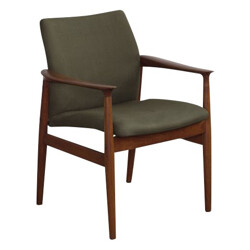 Lounge chair in teak and green fabric, Grete JALK - 1960s