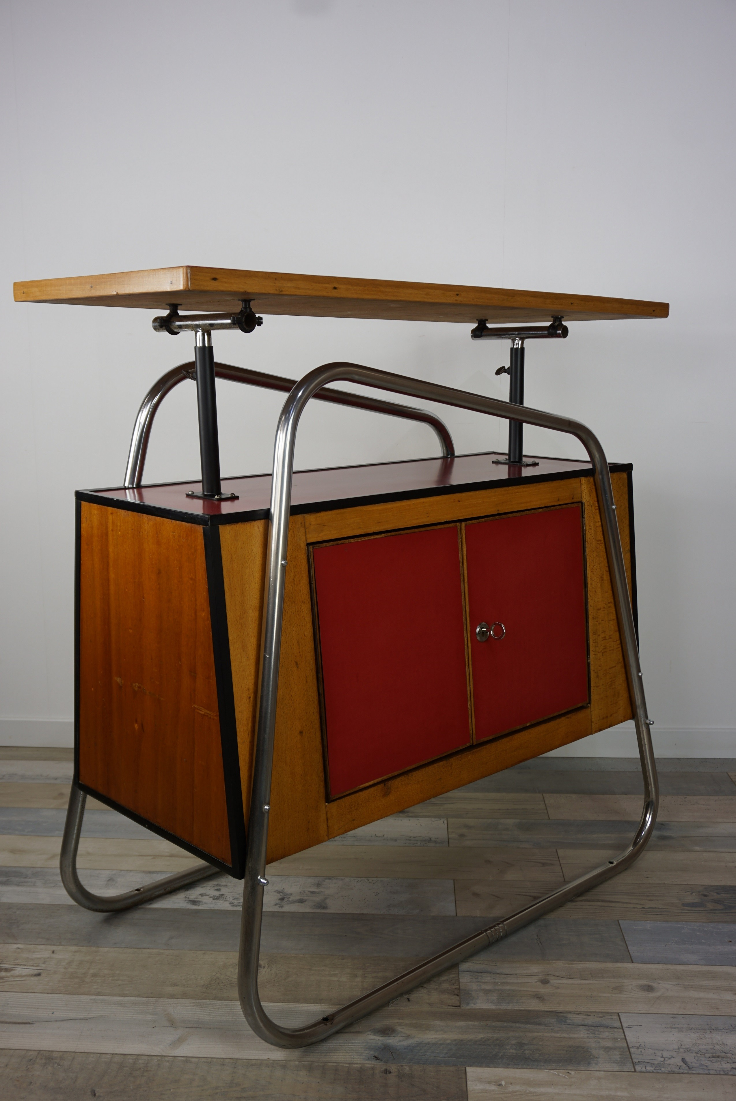 Vintage bar cabinet in chromed tubular metal - 1950s - Design Market