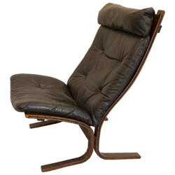Easy chair in leather and wood, Ingmar RELLING - 1970s