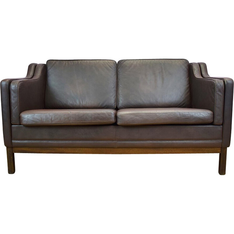 Vintage Danish brown leather 2 seater sofa by Mogens Hansen - 1970s
