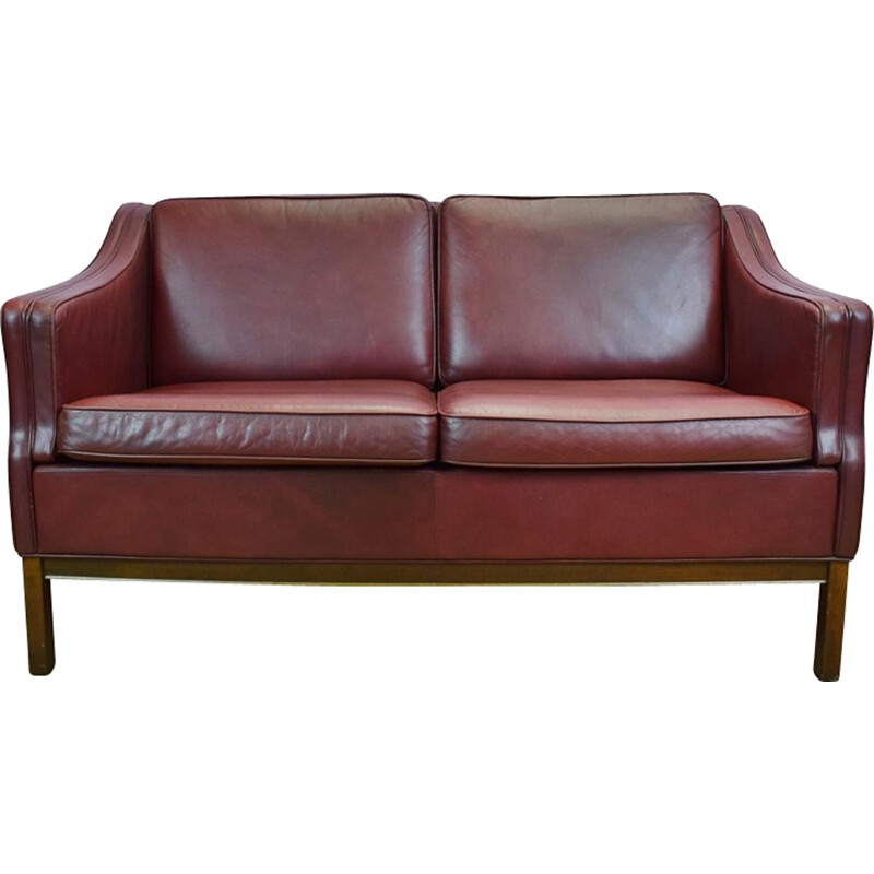 Vintage Danish burgundy leather 2 seater sofa by Borge Mogensen - 1970s
