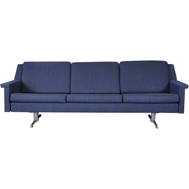 Vintage 3 seater Sofa in steel and fabric - 1970s