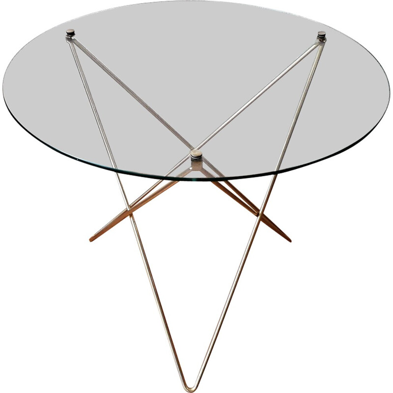 Side table/ pedestral table in metal and glass - 1950s