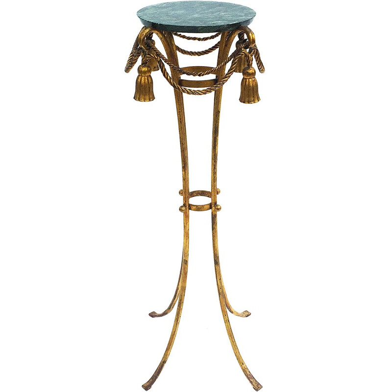 Vintage pedestal table in marble and gilded metal - 1950s