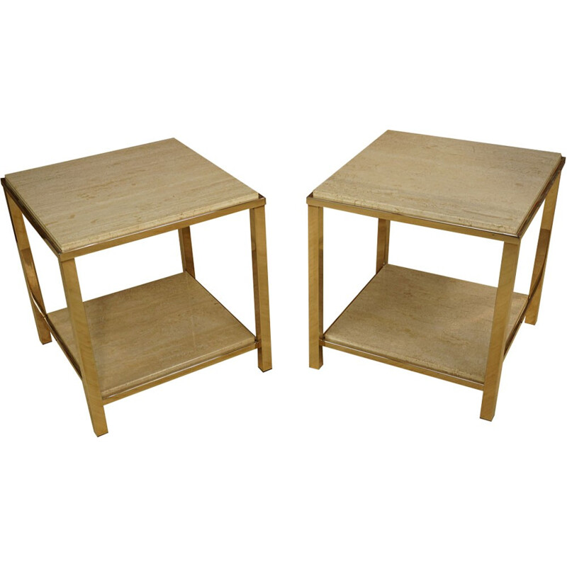Set of 2 consoles in gold and travertine for Belgo Chrom - 1970s
