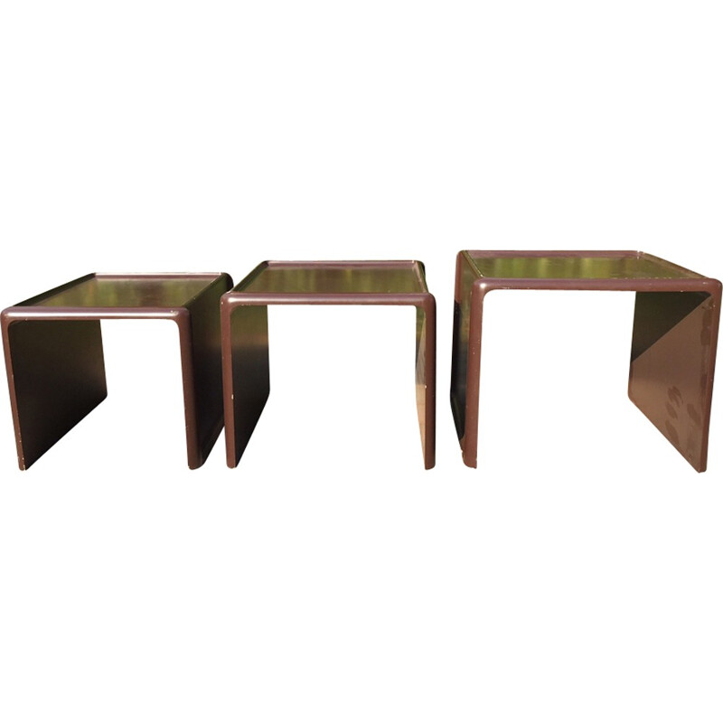 Set of 3 nesting tables by Peter Ghyczy for Horn Collection - 1970s