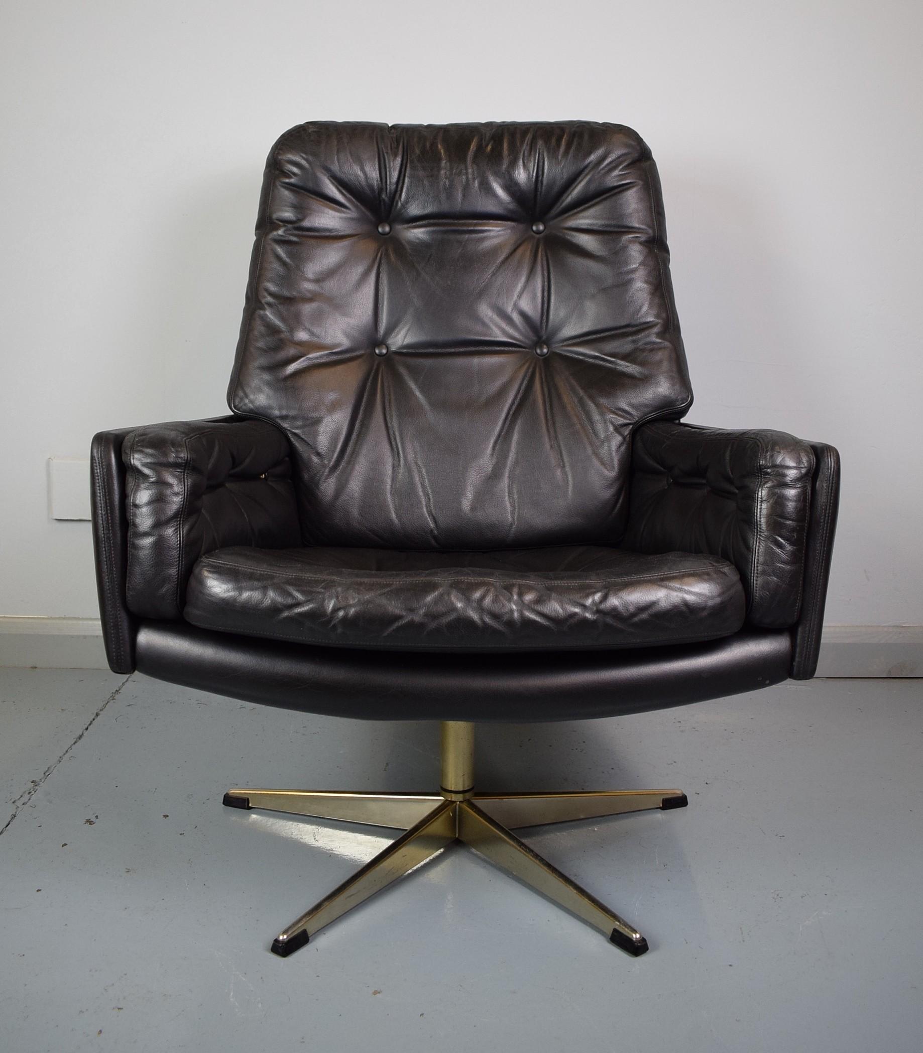 Vintage Danish Black Leather Swivel Armchair - 1960s ...