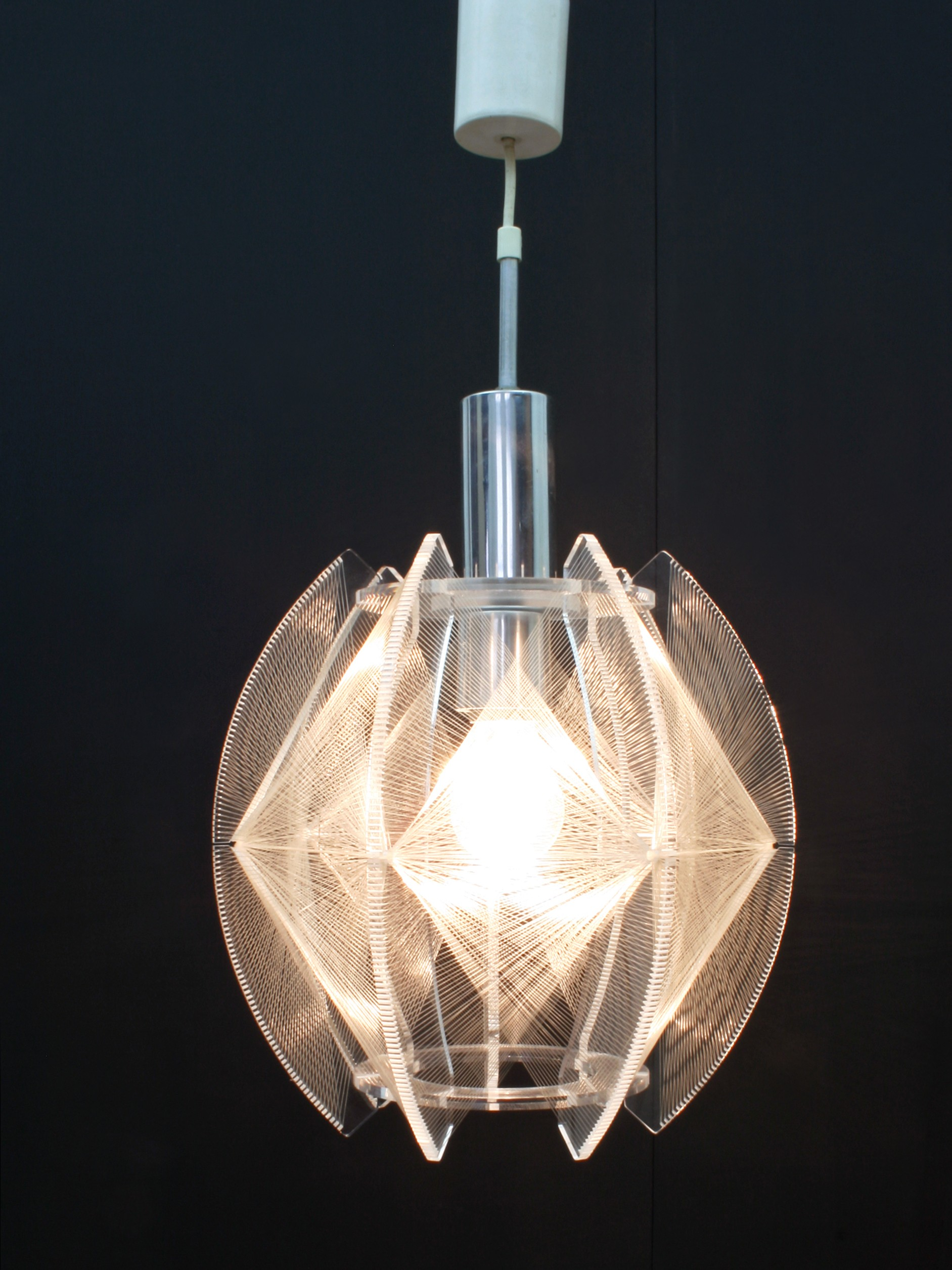 Vintage perspex chrome lamp with nylon threads model swag by previous next aloadofball Choice Image