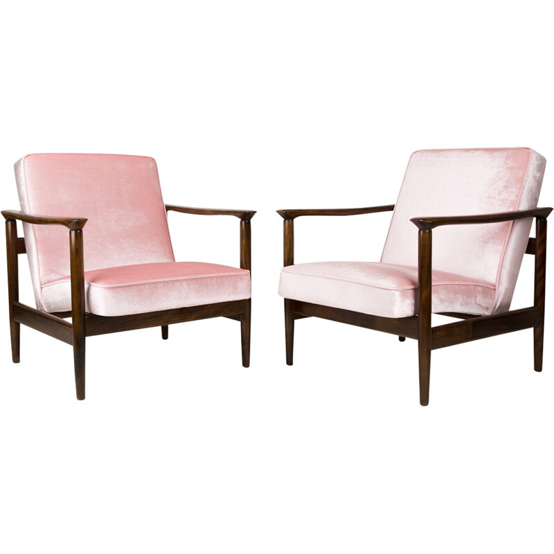 Pair of pink GFM-142 armchairs by Edmund Homa - 1960s