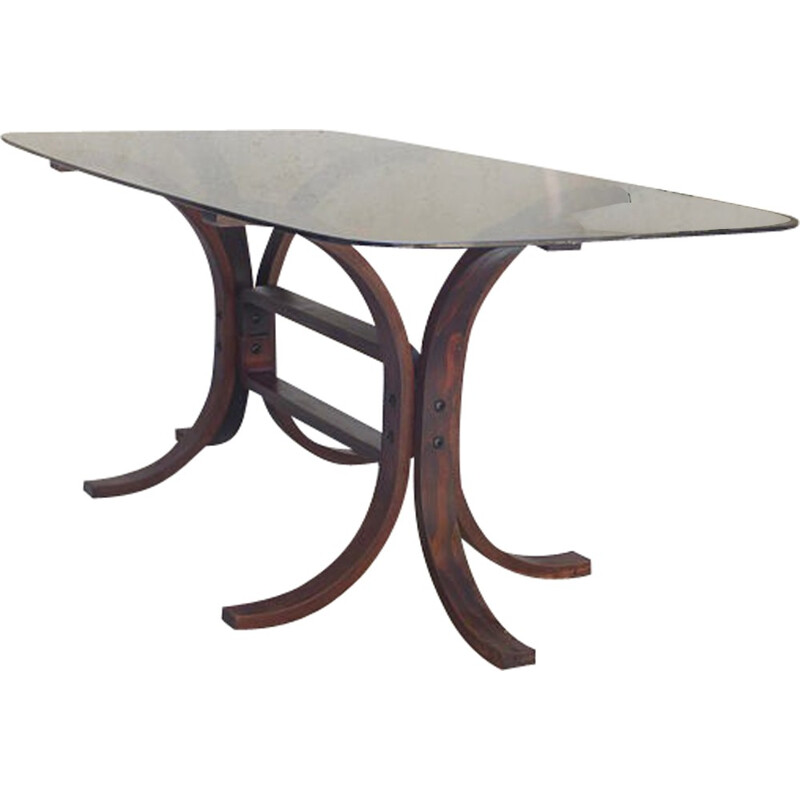 Vintage Scandinavian table in glass and curved wood - 1970s