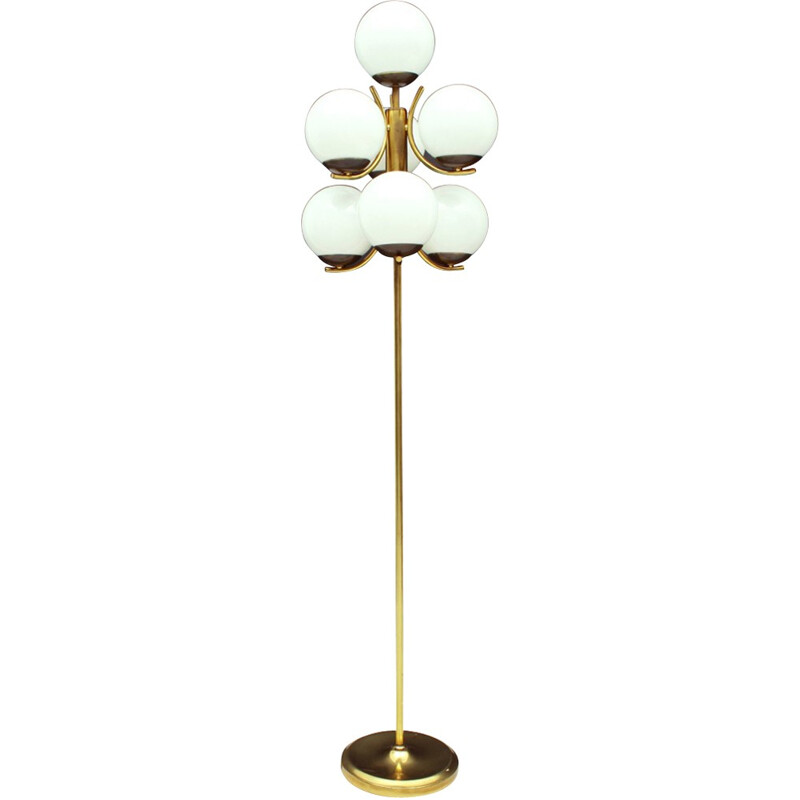 Golden 7 Armed Opal Glass Floor Lamp - 1960s