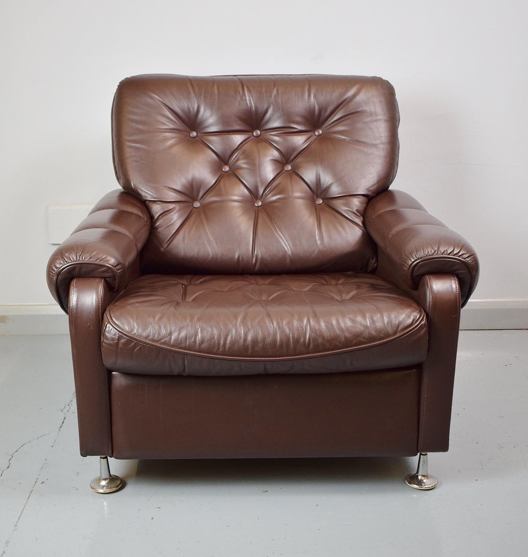 Vintage Danish dark brown leather lounge armchair - 1970s ...