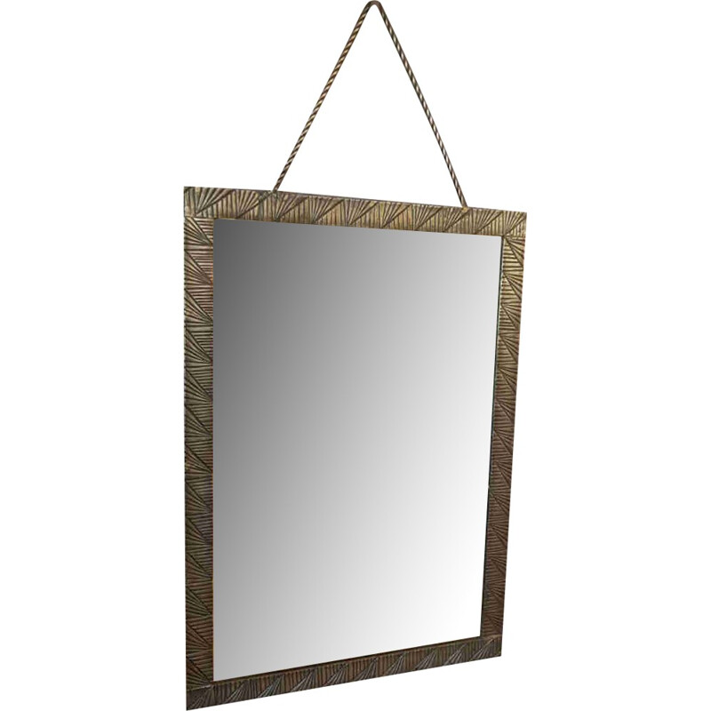 Vintage french mirror in hammered wrought iron - 1940s