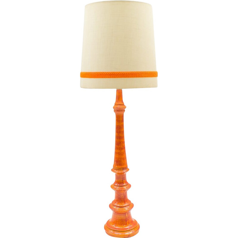 Vintage Large Floor Lamp in Orange Ceramic - 1960s