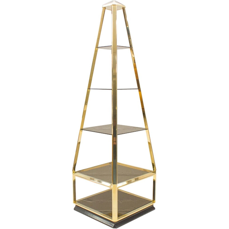 Hollywood Regency Pyramid Shelves in Gilt Brass & Smoked Glass - 1960s